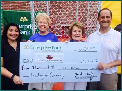 Enterprise Bank presents their donation to Table of Plenty.  L-R:  Kathryn Ferguson, Assistant to the CEO of Enterprise Bank; Debbie Kendrick, TOPIC Treasurer; Maureen McKeown, TOPIC President; Rob Lawlor, Enterprise Bank SVP Sales and Relationship Manager