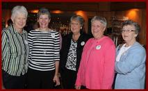 Table of Plenty Volunteers (L-R): Linda Ridlon, Mary Moriarty, Carol Morris, Val Langbehn, and Jan Gurley